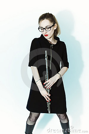 Young woman with a flute and glasses