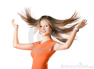 Young woman with fluttering hair