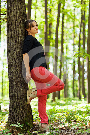 Young woman in the forest