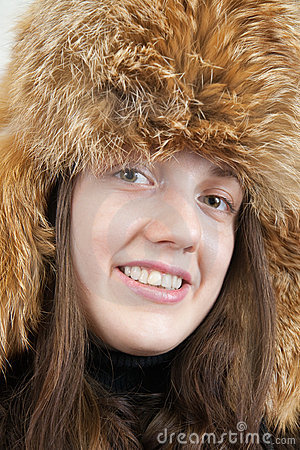 Young woman in  fox hat
