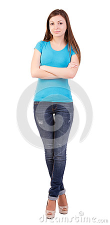 Young woman full length isolated