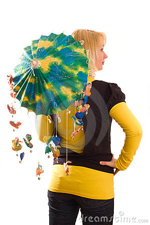 Young woman with funny umbrella