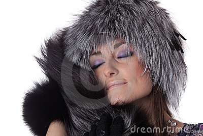 Young woman in fur.