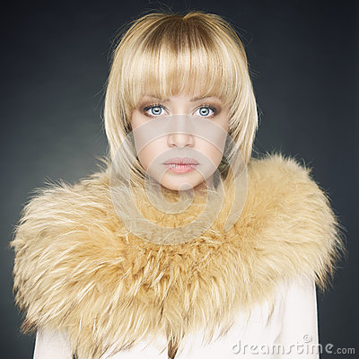 Young woman with fur