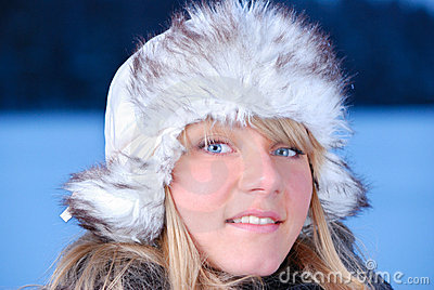 Young woman in furry hat