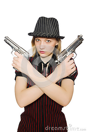 Young woman gangster with gun