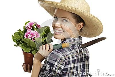 Young woman   gardener