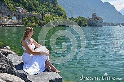 Young woman at Geneva lake