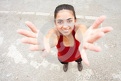 Young woman gesturing