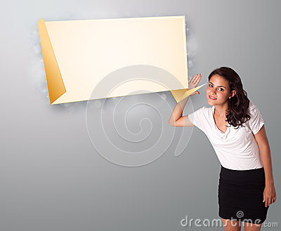 Young woman gesturing with modern origami copy space