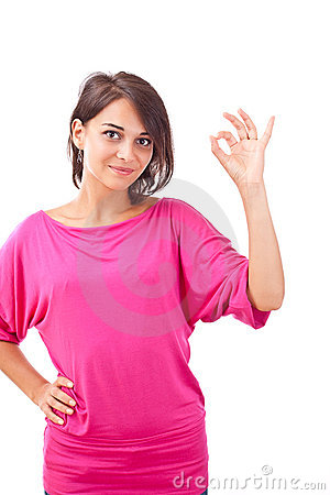 Young woman gesturing a okay