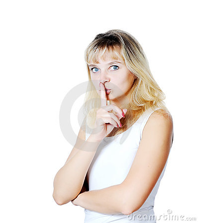 Young Woman Gesturing for Quiet