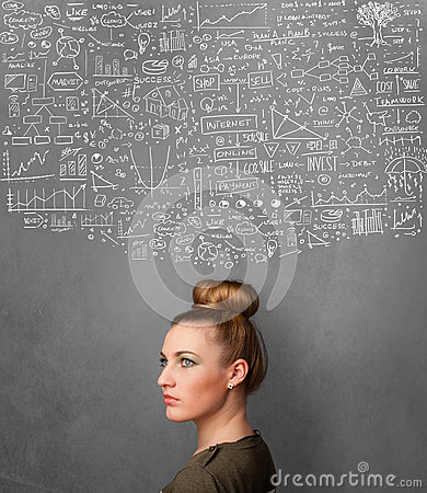 Young woman gesturing with sketched charts above her head Stock Photo