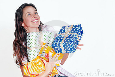 Young woman with gifts