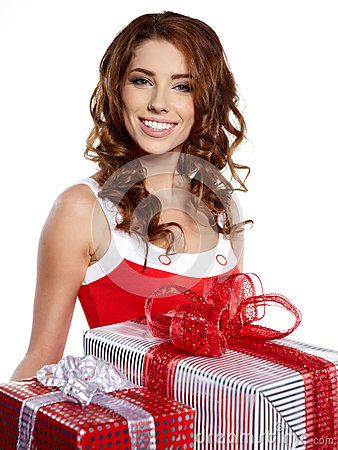 Young woman with gifts.