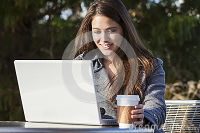 Young Woman Girl Using Laptop Drinking Coffee