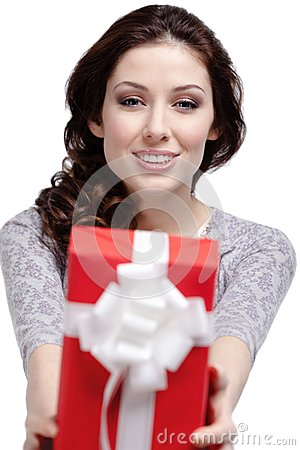 Young woman gives a gift