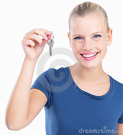 Young woman giving keys