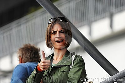 Young woman giving thumbs-up