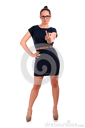 Young woman in glasses gesturing OK