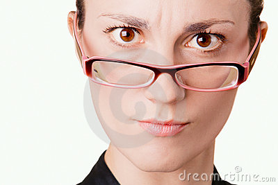Young woman in glasses portrait