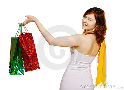 Young woman goes shopping