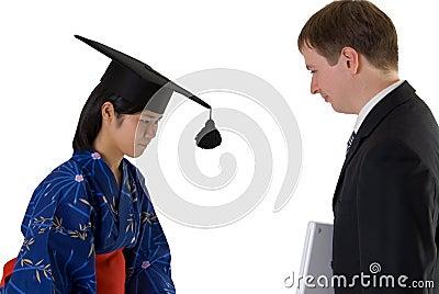 Young woman graduating