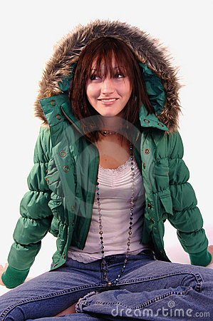 Young woman in green jacket