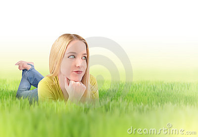 Young Woman in Green Nature Grass