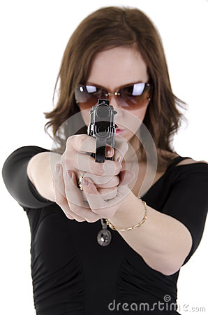 Young woman with gun. (3)