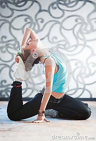 Young woman gymnastics