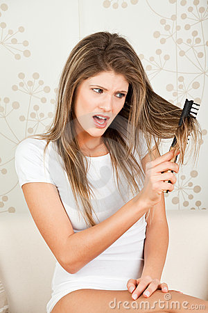 Young woman with hair problem