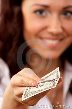 Young woman hand holding one dollar