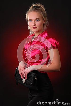 Young woman with a handbag