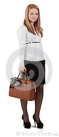 Young woman with handbag