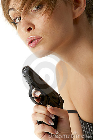 Young woman with handgun