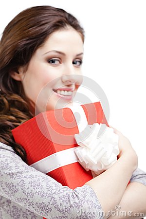 Young woman hands a xmas gift