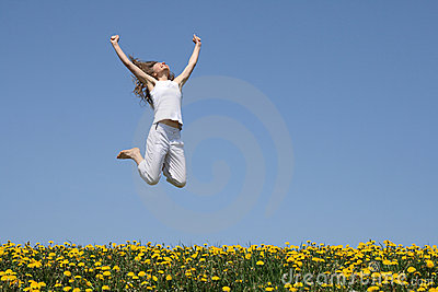 Young woman in a happy jump