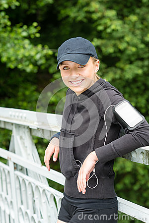 Young woman happy resting after workout sport
