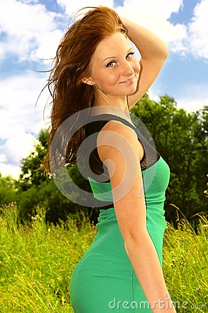 Young Woman happy smiling in Summer Dress