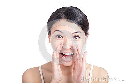 Young woman happy whispering message