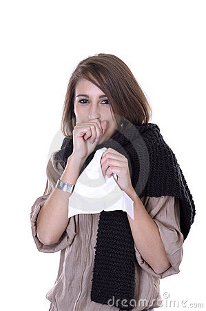 Young woman having the flu