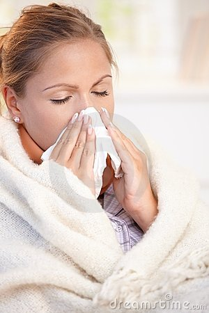 Free Young Woman Having Flu Blowing Her Nose Royalty Free Stock Photography - 17164787