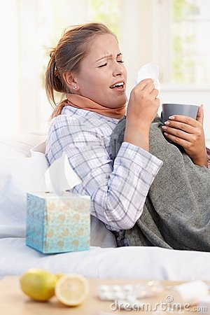 Free Young Woman Having Flu Laying In Bed Sneezing Stock Image - 17164741