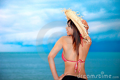 Young woman having fun at beach