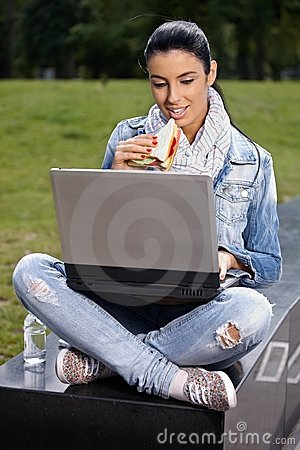 Young woman having lunch in park using laptop