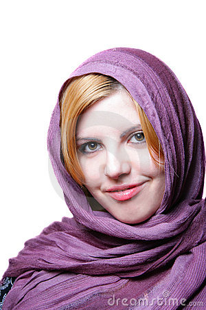 Young woman with headscarf