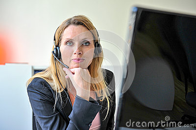Young woman headset computer