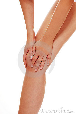 Young woman heaving knee injury