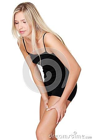 Young woman heaving leg injury.
